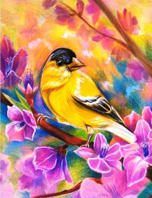 yellow sparrow diamond painting