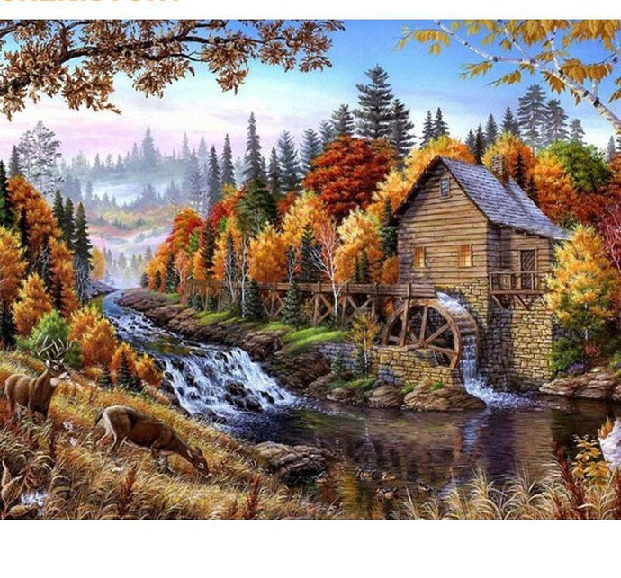 A House by the River Painting - Paint by Numbers
