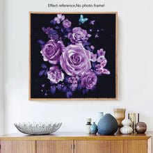 Load image into Gallery viewer, Purple Roses and butterflies DIY Diamond Painting