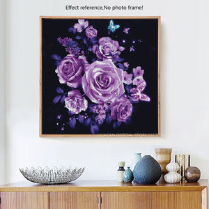 Purple Roses and butterflies DIY Diamond Painting
