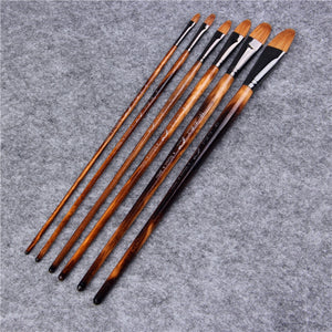 6 Piece Weasel Hair Painting Brushes Set