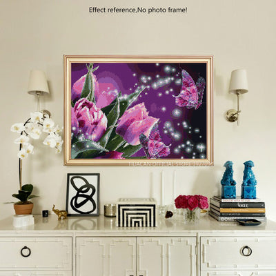 Diamond Painting Kit - Purple flowers and Butterfly