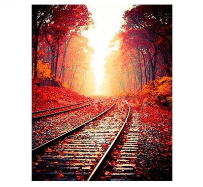 Romantic Autumn Train Track Painting DIY with Kit