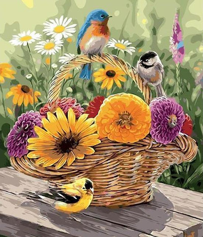 Beautiful Flowers and Birds Basket - Paint by Numbers
