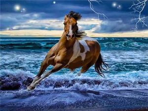 Horse Running on the Beach painting
