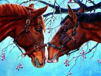 Horse Couple in the Snow DIY Painting