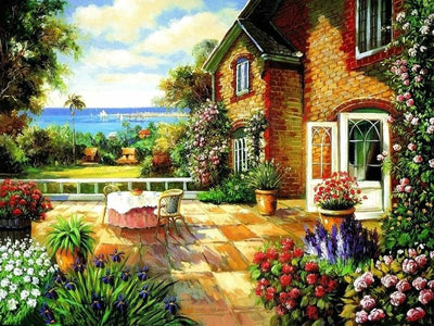 A House Near Sea with Colorful Flowers - DIY Painting Kit