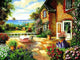 A House Near Sea with Colorful Flowers - PBN