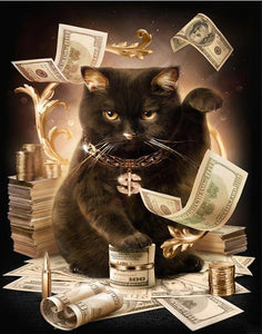 Rich Black Cat Boss - Painting by Numbers for Adults