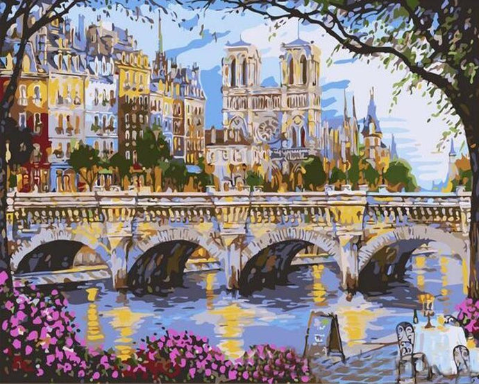 Vintage Old City Bridge Painting - Paint by Numbers