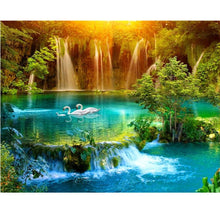 Load image into Gallery viewer, Waterfall, 5D, diamond painting, lake, swan, cross stitch, 3d picture, picture, full, diamond embroidery, mosaic, handicrafts