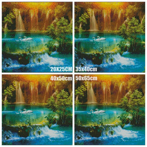 Waterfall, 5D, diamond painting, lake, swan, cross stitch, 3d picture, picture, full, diamond embroidery, mosaic, handicrafts