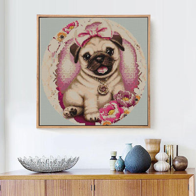 Cute Dog Painting with Crystals