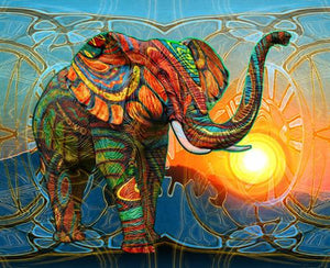 Artistic Elephant and the Sunset