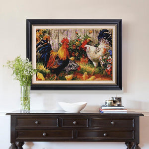 Chicken and Flowers Painting by Diamonds