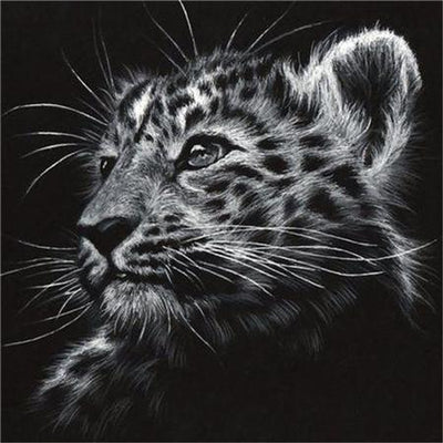 tiger black and white painting