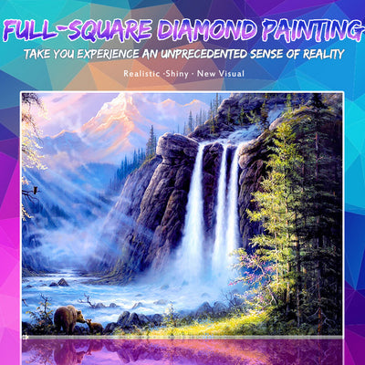 Stunning waterfall View Painting with Diamonds