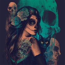 Load image into Gallery viewer, Witch with Black Cat - Halloween Diamond Painting