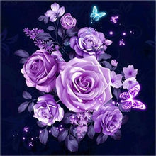 Load image into Gallery viewer, purple rose diamond art