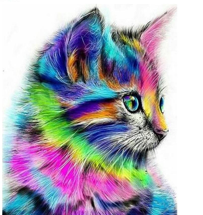colorful cat diamond painting