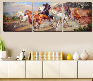 3 Panels Painting - Horses - PBN