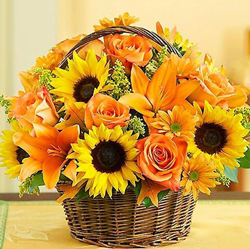 Sunflowers & Roses Basket