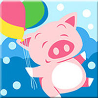 Little Piggy with balloons - Paint on Linen Canvas