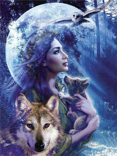 wolf full moon diamond painting
