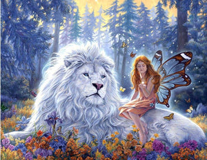 white lion diamond painting