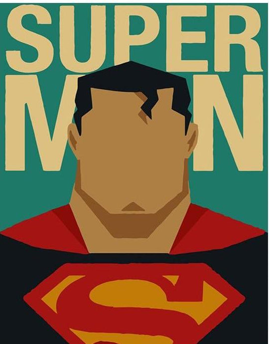 Superman Cartoon Poster - Painting by number