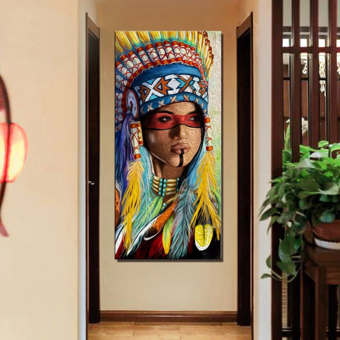 American Indian Woman Painting  - paint by numbers for adults