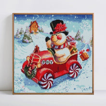 Load image into Gallery viewer, Snowman on Christmas Car - Paint by Diamonds