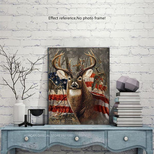 USA Flag & Deer Diamond Painting