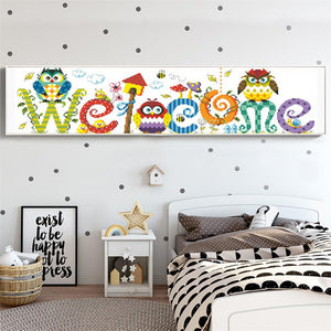 Welcome Sign Painting with Diamonds