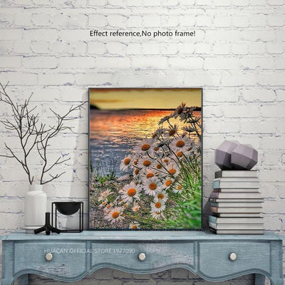 White Sunflowers, Sunset and Sea