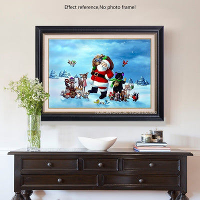 Santa With Animals - Painting with Diamonds