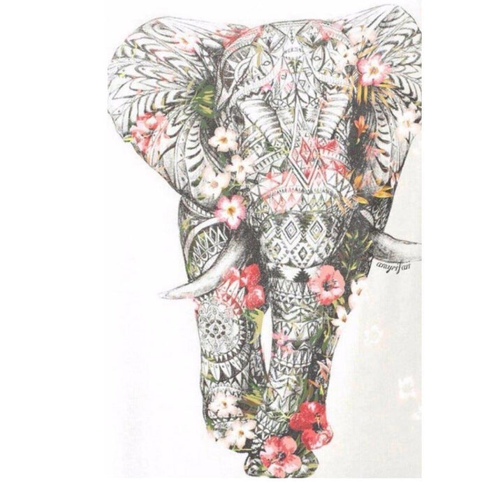 Floral Elephant - Diamond Embroidery