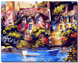 Beautiful House Scenery - Adult Painting By Numbers