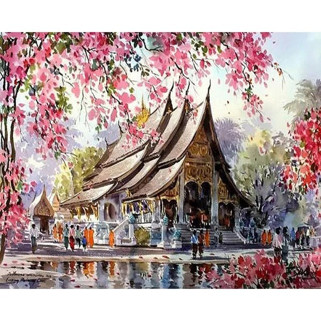 Cherry Blossom Temple - Painting by Number