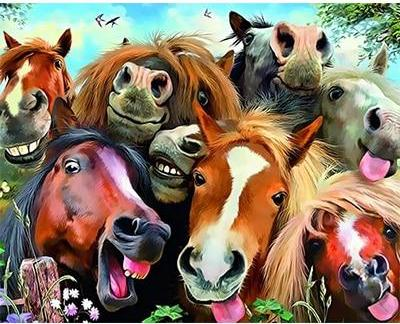 Happy Colorful Horses - Painting by number