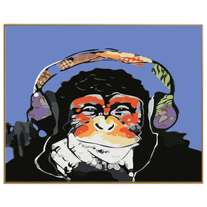 Cartoon Monkey Listening To Music - Paint by numbers