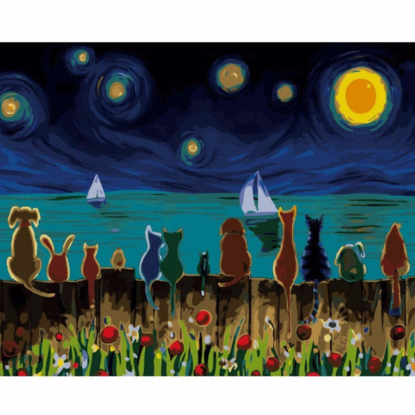 Cat & Dogs Digital Cartoon Painting - paint by number