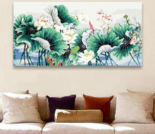 Load image into Gallery viewer, Lotus Leaves Painting by Number