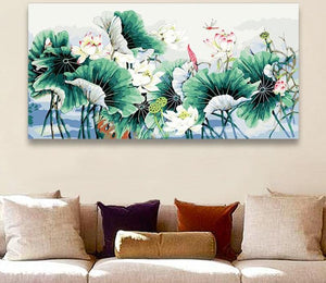 Lotus Leaves Painting by Number