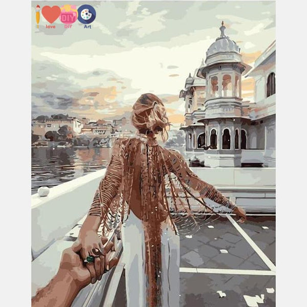 Romantic Travel Painting With Paint by Numbers Kit DIY