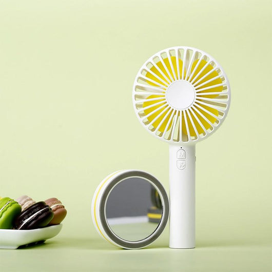 Powerful Portable Hand Fan with Cosmetic Mirror