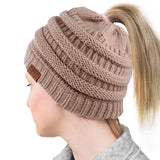 Ponytail Beanie - Soft Knitted Cap