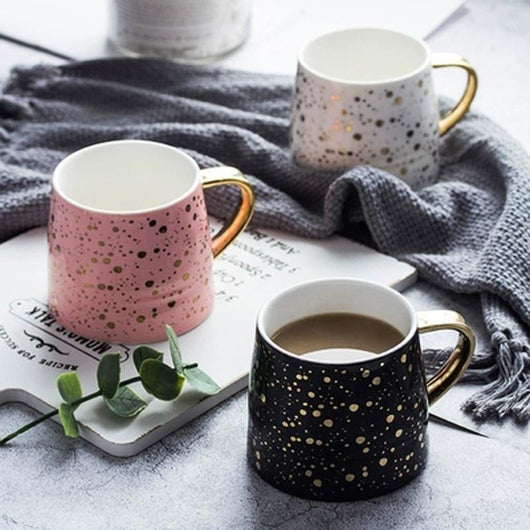 Starry Sky Ceramic Mugs and Spoon