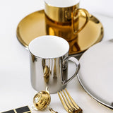 Mirrored Ceramic Coffee Mugs & Plates