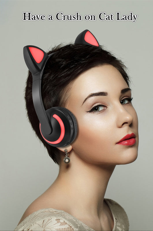 Stereo Cat Ear Headphones - With Glowing LED Lights